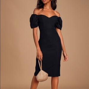 Lulus Lucky Number Puff Sleeve Bodycon Midi Dress
